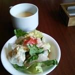 CAFE MOJAVE - ランチのスープとサラダ