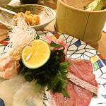 炭焼 小料理 わさび - ウマズラハギと天然鰤刺身