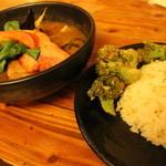 47498603 - SAMURAI祭 レギュラースープ2番 4品 豚角煮+厚切りベーコン+味付け半熟卵+サクサクブロッコリー ライスレギュラー 1480円