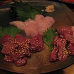 地鶏もも焼き なかむら - お刺身三種