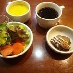 47515969 - サラダ、ドルチェ、スープ、ホットコーヒー