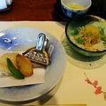 47526552 - 豆腐サラダ、百合根豆乳餅 合鴨そぼろあん、揚物二種、かに真丈あられ揚げ、鰤(ぶり)の竜田揚げ