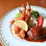キャトルセゾン - 料理写真:ハンバーグ&海老フライ
