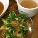 カレーショップ ボナッ - ランチセットのミニサラダとスープ