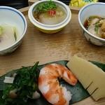 香楽 - 八寸 鮟肝、貝柱、蒸し海老、鯛