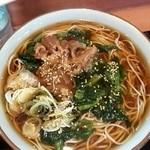 文殊 川越ホーム店 - 牛肉ほうれん草そば¥580+大盛¥100
