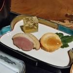 山の神 - 季節の前菜盛り合わせ 「あん肝」「鴨肉」「河豚のにこごり」
