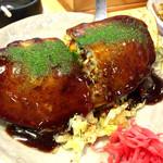 都一 - ○お好み焼き様(肉卵入り)折りたたまれたスタイルは熊本のスタイルなのだろうか??