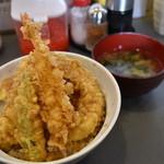 四八天丼 - お味噌汁もセットです
