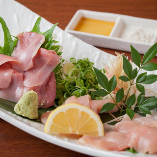 新鮮な近江軍鶏のお刺身をコースとご一緒に!
