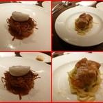 オステリア ハナタニ - 牡蠣とじゃがいものトルティーノ、鱈の白子と九条葱のタリアテッレ