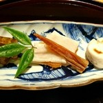 豪龍久保 - 虎河豚の煮凝り、唐墨と餅、虎河豚白子とばちこ