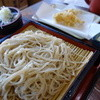 Sanshirou - 料理写真:もりそば(\735税込み)天麩羅はサービス品(かぼちゃ、えのき)