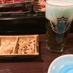 居酒屋 まこちゃん - お通し+山雅ビール