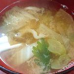 山根 - お食事処 山根 @中板橋 煮魚定食に付く野菜たっぷり味噌汁
