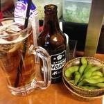 立呑処へそ - 黒ホッピーと枝豆