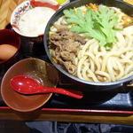 うどん むぎの蔵 - 大和牛のうどんすき鍋(980円)+ライス(120円)