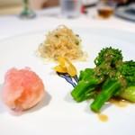 メゾン・ド・ユーロン - 前菜の盛り合わせ 三種  菜の花  蕪の赤酢漬け  金柑  くらげの葱和え