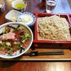 梶ヶ谷 海老民 - 料理写真:...「まぐろ丼とせいろ(冷)(1300円)」、蕎麦湯も最後に来ます!