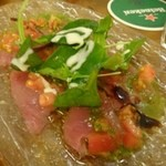 ポンテバレーノ - ◆鮮魚のカルパッチョ(850円:外税)::この日は「鮪」 鮪は普通ですけれど、ドレッシングがいいお味でした。