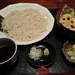 手打ちそば 創愿 - 天丼+更科蕎麦セット@1,460