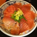 魚市 - 赤身❤中トロ❤ネギトロ❤ ヽ(●´ε`●)ノ ど~んっと マグロ! <゜)#)))彡~ < ))))><<