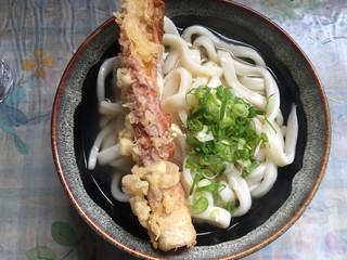 讃岐製麺所 - かけうどん大 (太め)230円  ちくわ天 90円
