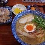 麺屋 風よおしえて - 鶏だし中華そば(塩)&鶏ごはん(数量限定)200円