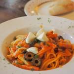 パペルブルグ - きのことベーコンのパスタ トマトソース