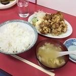 日之出食堂 - 本日のサービスランチ 肉の天ぷらランチ¥700