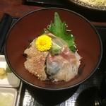 47711504 - 【2015年12月】そば定食(真鯛三味丼)の「真鯛三味丼」です。