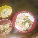 ほっともっと - 今治焼豚玉子丼、酢キノコ、小松菜とサラダ豆の白和え