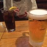 ザ・レッドロック - やっぱりバーガーと言ったら、ビールかコーラ(笑)