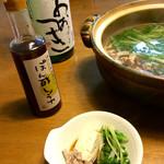 笹の川酒造 - はりはり鍋と一緒に。ぽん酢醤油は東三の先達からのいただきもの。