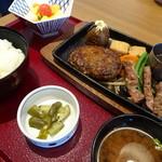 47750301 - 飛騨牛入りハンバーグ&ステーキ定食(2,030円)