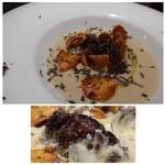 クッカーニャ - ◆菊芋のスープ、フォアグラ添え・・菊芋のチップと黒トリュフが添えられています。 これとても美味しい品でした。