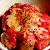肉団子のトマトチーズのせ