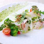 リストランテ・マリオ - 昆布締め 鯛のカルパッチョ仕立て 1200円