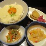 47827863 - あきたこまちのとろろご飯、燻りガッコ・チョロギガッコ、煮物、サーモンマリネ