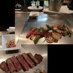 1029 - <2016年2月・再訪>黒毛和牛ヘレステーキ、焼き野菜も添えて。カリカリのガーリックチップも美味しい♡ 100g/2,800円