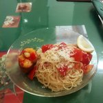 ビバビバ - カッペリーニの冷製パスタと季節野菜マリネのブルスケッタ