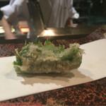 天ぷら 酒菜 醍醐 - ウニの大葉巻
