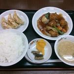 餃子の王将 - 16/2 酢豚セット:831円+ご飯大盛り:140円(=971円)