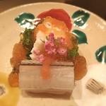 まき村 - サヨリの昆布締めと菜の花の梅肉和え