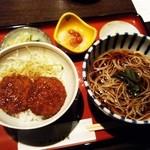 西口喜多や - 料理写真:「ミニソース丼セット」(\1,140-)※蕎麦は「ひやかけ」