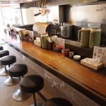 麺屋・高豚 - オープン直前に撮った写真ですが 見えない場所にサラリーマンの方4人待機です!
