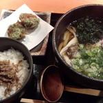 雅楽 - 【料理】帆立の天ぷらと舞茸うどん+じゃこ山椒めし