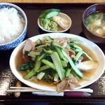 47885275 - 日替り定食(豚肉とターツァイとザーサイの炒め)750円