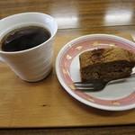 棚田倶楽部 - タンポポコーヒーと米ぬかケーキのセット 500円 (''b
