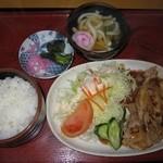 味の老舗 八千代 - 2016年のしょうが焼き定食(ミニうどん付)850円